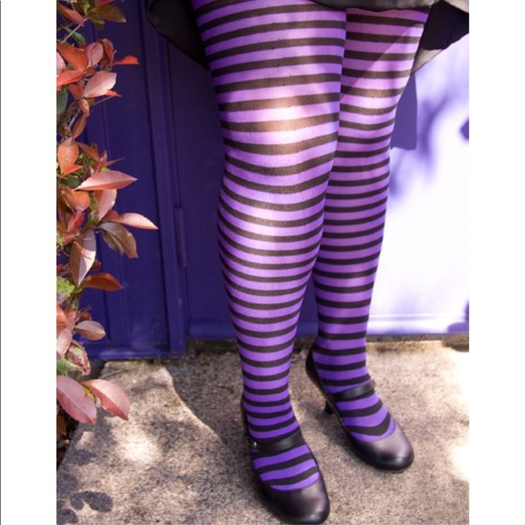 45545bd88a0c6 Music Legs Accessories | Plus Size Purple Striped Opaque Tights ...